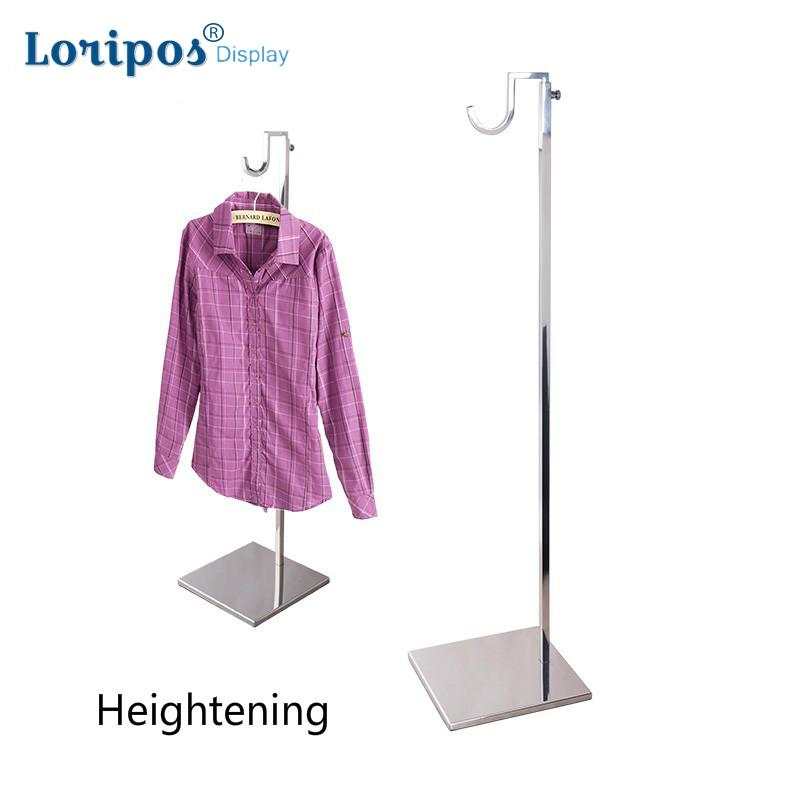 High grade Stainless Steel Coat Rack Clothing Hanging Hook Shelf Bag Display Holder Handbag Display Floor Stand Coat Shelf Metal