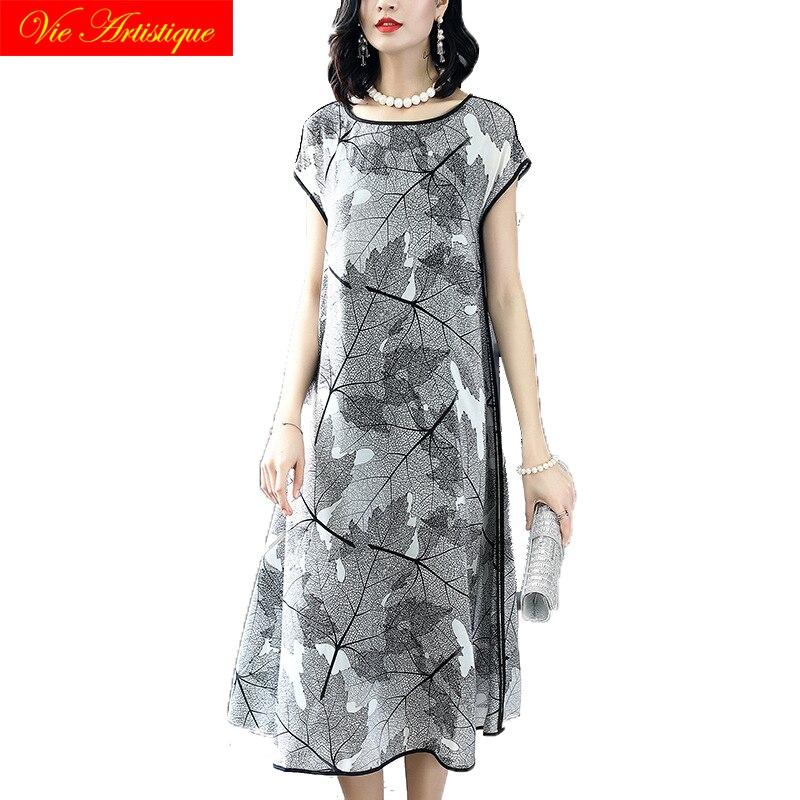 Шелковое платье с цветочным рисунком женские платья 2018 Летние повседневные пляжные Длинные cheongsam большие размеры boho свободные серый Фея мо