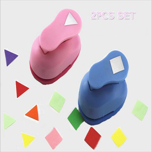 2pcs Triangle and Square Shape 1 inch craft punch set children manual DIY Hole Punches Scrapbook DIY Paper Cutter