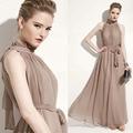 Vestidos elegante bohemio beach long dress perfect fairy hang-cuello sexy gasa maxi halter dress indio piso-longitud dress