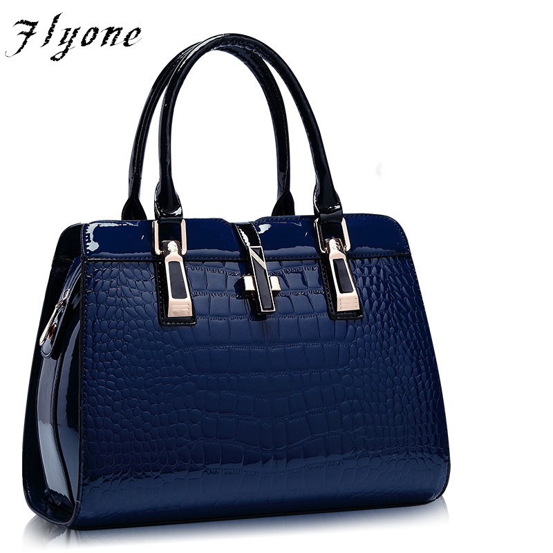Flyone Alligator Patent Leather Women Handbag Big Women's Shoulder Bags Cross Lock Design Lady Tote Handbag FYO104 цена