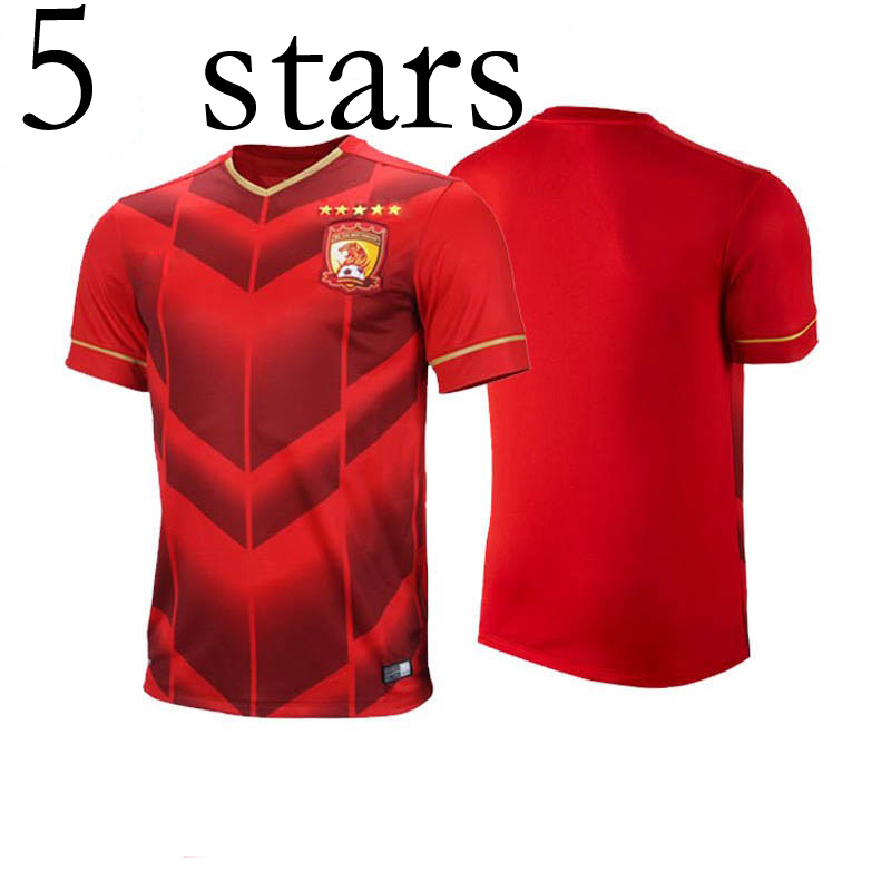 b48488f0d New 5 Stars Guangzhou Evergrande soccer jerseys men shirt red S-XL Chinese  Super League football Club team 5 times champion kits