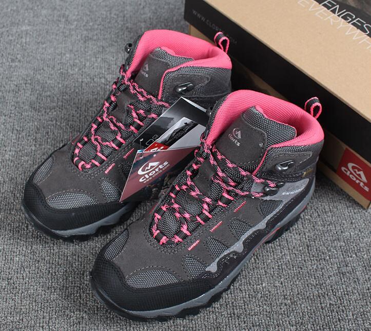 CLORTS femmes chaussures de randonnée en plein air dames en cuir véritable imperméable camping trekking marche baskets chaussures de montagne antidérapantes
