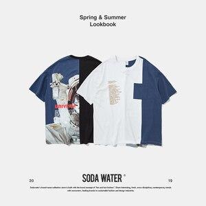 Image 5 - SODA SU Büyük Boy Baskı T shirt Üst Marka Giyim erkek Kısa Kollu Tshirt Streetwear Hiphop Gevşek pamuklu bluz Tees 91218S