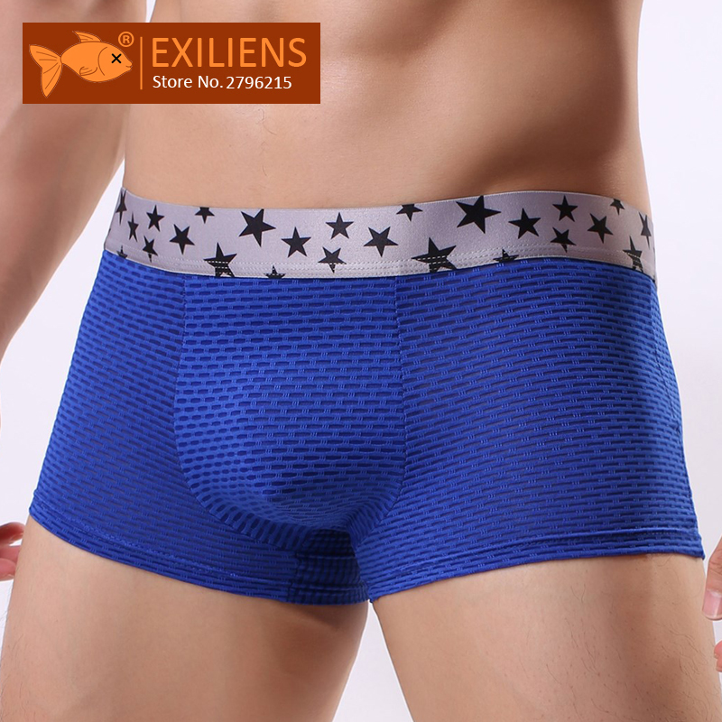 EXILIENS Boxer Men White U Convex Sexy Breathable Brand Blue Black Lace Red Calzoncillos