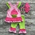 Meninas do bebê roupas de verão meninas roupas capcake crianças boutique roupas irritar calças capri com correspondência accessoreis