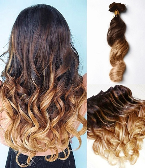Three Tones Ombre Clip In Hair Extensions Body Wavy 9pcsset 16 32