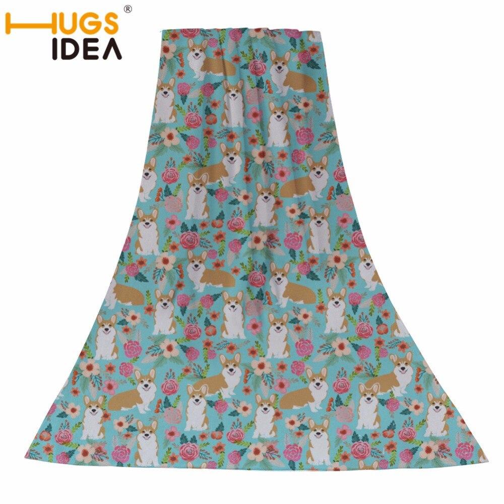 HUGSIDEA Corgi chien fleurs motif coton serviette de bain adultes grande taille absorbant l'eau Textile maison dame plage serviettes de natation