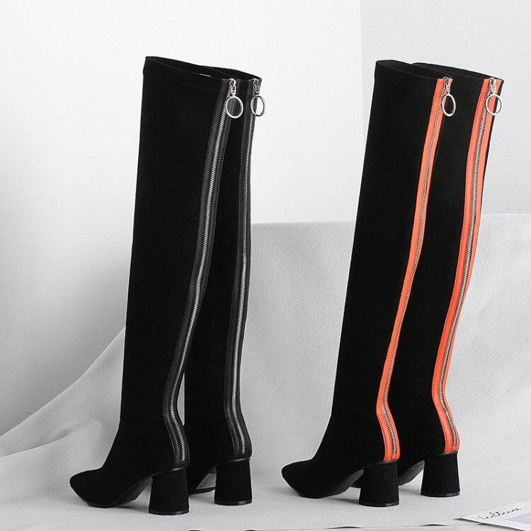 MLJUESE 2019 femmes sur le genou bottes Corée stretch tissu d'hiver couleurs mélangées haute talons talon carré haute bottes femme bottes
