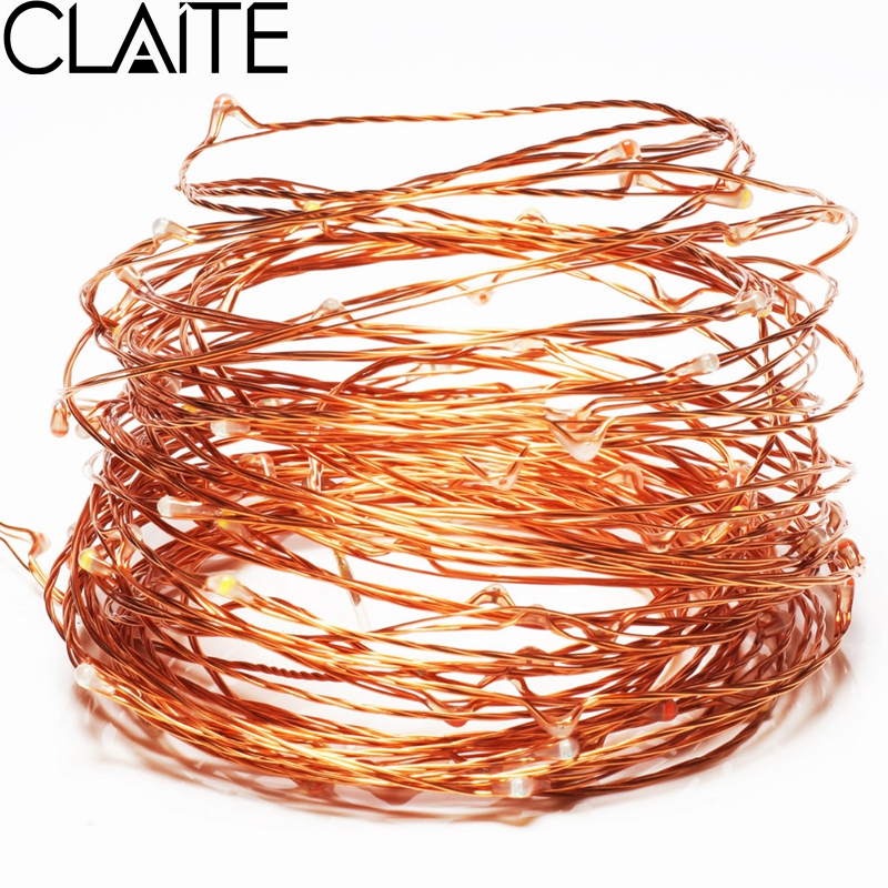 CLAITE 10 M 100 LEDs USB Copper Wire String Lights Fairy Light Outdoor Party Home Decoration Lamp for Christmas Festival Party