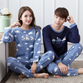 2016 Otoño Invierno Pareja Mujeres Hombres Parejas Pijama de Algodón de Manga Larga Pijama Establece Camisón Amantes de Dibujos Animados ropa de Dormir Ropa de Dormir