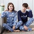 2016 Outono Inverno Casal Conjuntos de Pijama Pijama de Algodão de Manga Comprida Camisola Dos Homens Das Mulheres Casal Amantes Dos Desenhos Animados Sleepwear Nightwear