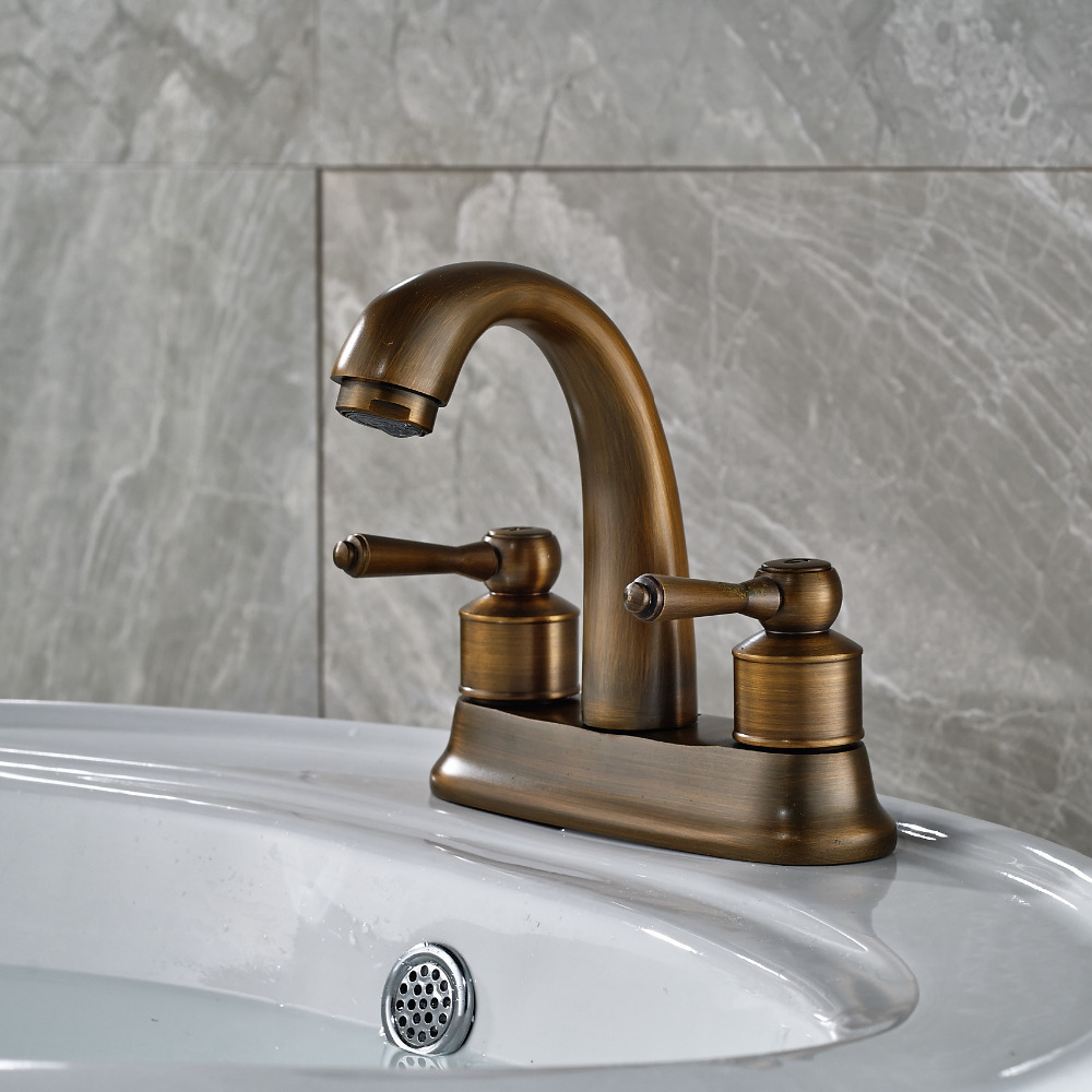 Luxury 4 Antique Brass Bathroom Basin Faucet Dual Handles Vessel Sink Mixer Tap antique brass widespread bathroom faucet 3pcs 8 sink mixer tap dual handles