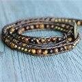 В продаже трехместный 4 мм тигровый глаз прядь браслет подарок ее браслет ювелирные изделия оптовая продажа продажа