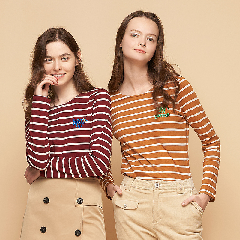 Toyouth Spring Women Basic Striped T-Shirt Letter Embroidery Female Tshirt Casual O-Neck Tee Shirt Fashion Camisetas Mujer