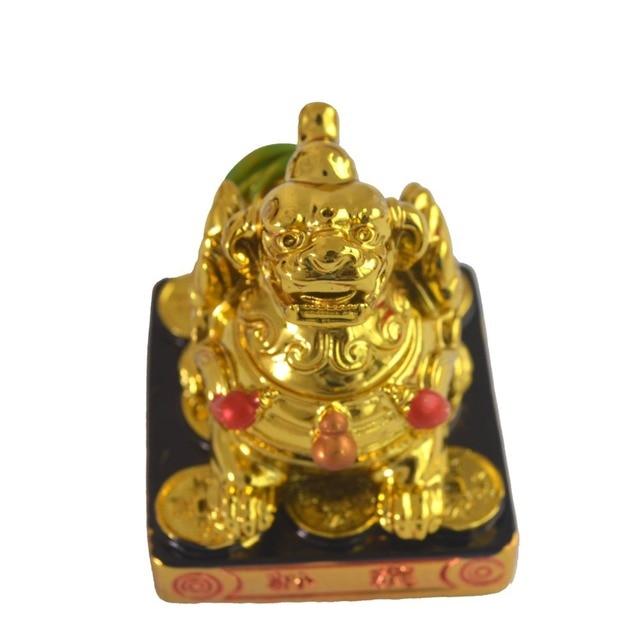 """Resin FengShui Golden Pi Yao/feng shui Statue Figurine 2"""" SKU AA376"""