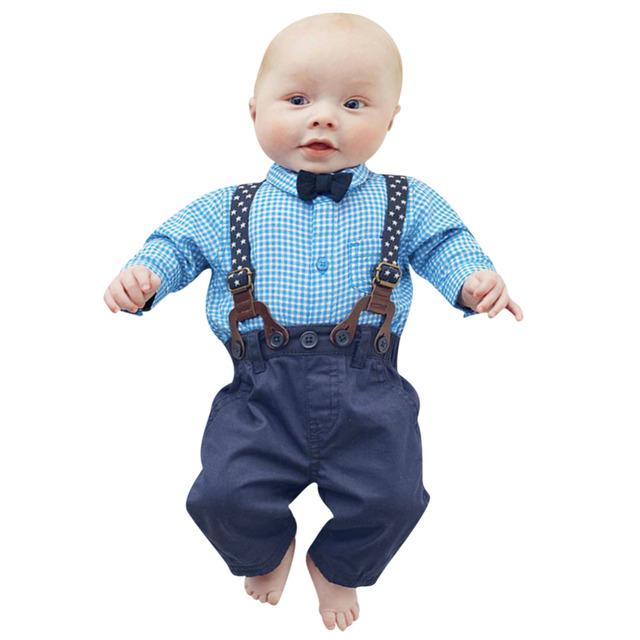 Nova Gentleman Bebê Recém-nascido Meninos Roupas De Casamento Set Crianças Infantil Criança Camisa Xadrez + Suspender Calças 2 pcs Macacão Outfits conjunto