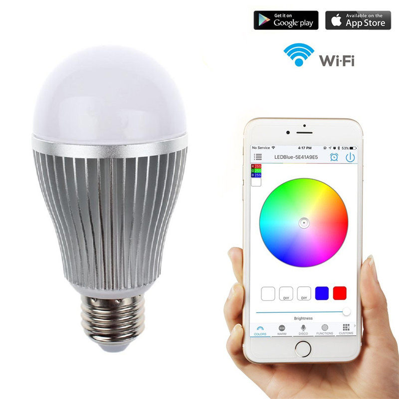 2.4G Wifi Android/IOS App Remote Control LED Globe Light Bulb E27 9W RGB & Warm white for Intelligent Home Automation Lighting