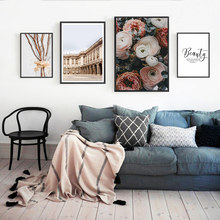 Quotes Pictures Wall Art Canvas Painting Posters Landscape Building Poster Nordic Flower Unframed