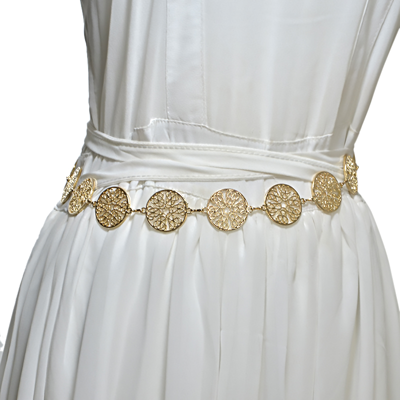 Luxury Fashion 2018 New Female Water Drill Gold Silver Metal Waist Chain Handmade   Belts   Skirt Decorative Hollow   Belt   Bg-933