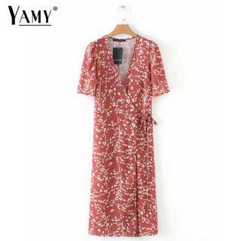 Summer women dress elegant vintage beach dress short sleeve causal sexy wrap long dress boho korean vestidos - DISCOUNT ITEM  50% OFF All Category