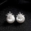 OCESRIO Cute Silver Double Pearl Earrings Snowflake Double Crystal Stud Earrings for Women Jewelry Earrings Christmas ers-j12