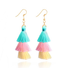 3-laags omzoomd goedkope verklaring kwast oorbellen voor vrouwen Hot Sale Fashion Cotton Tassel Drop Dangle Earrings Jewelry Oorbellen