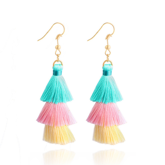 3-Layer Fringed Cheap Statement Tassel Earrings For Women Hot Sale Fashion Cotto