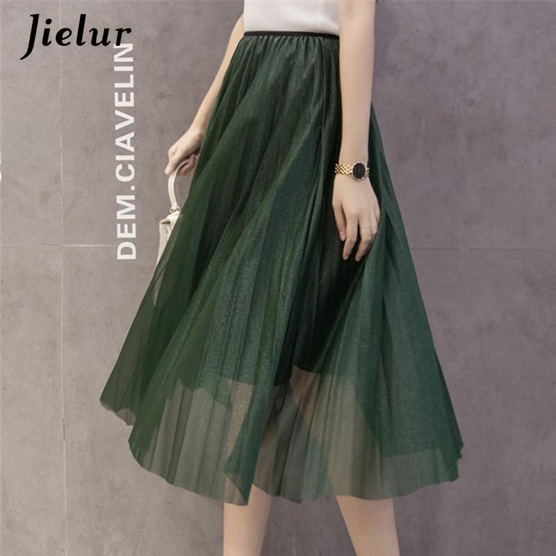 2018 Spring New Big Swing Pleated Women Skirts Elegant Glossy Mesh High Waist Tulle Skirt Ladies Pure Color Chiffon Long skirt