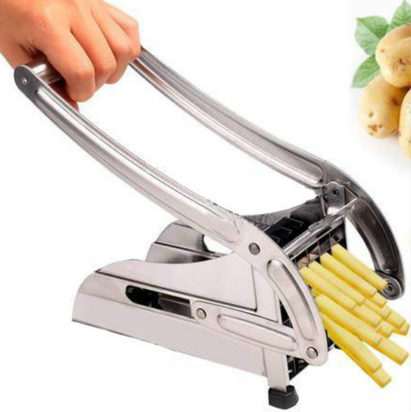 Kentang Perancis Potato Chips Strip Cutting Cutter Mesin Maker Stainless Steel Slicer Chopper Dicer + 2 Blades Kitchen Tools