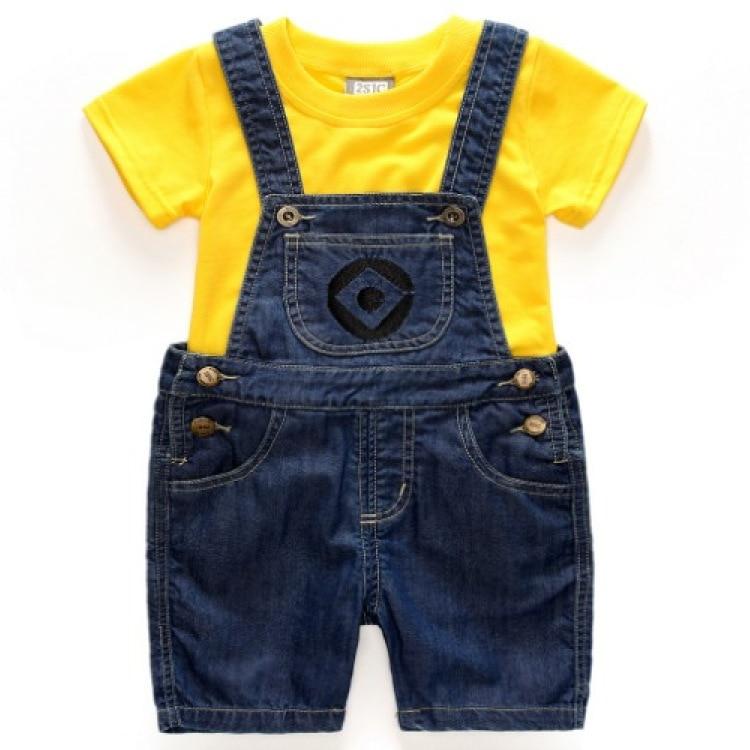 Boys Girls Set Children's Denim Shorts Suit Kids Clothes T shirt and Shorts 2pc Set Minions Clothing summer children clothing