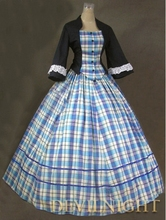 Blue and Black Plaid Victorian Day Costume Dress Antique Victorian Dresser