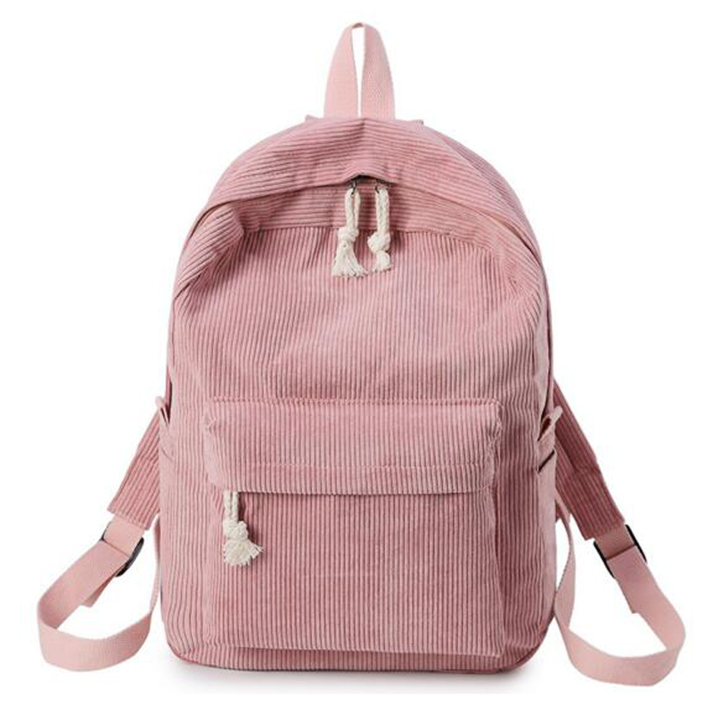 Girls Backpacks Rucksack Travel-Bags School-Bag Teenage Striped Corduroy-Design Women