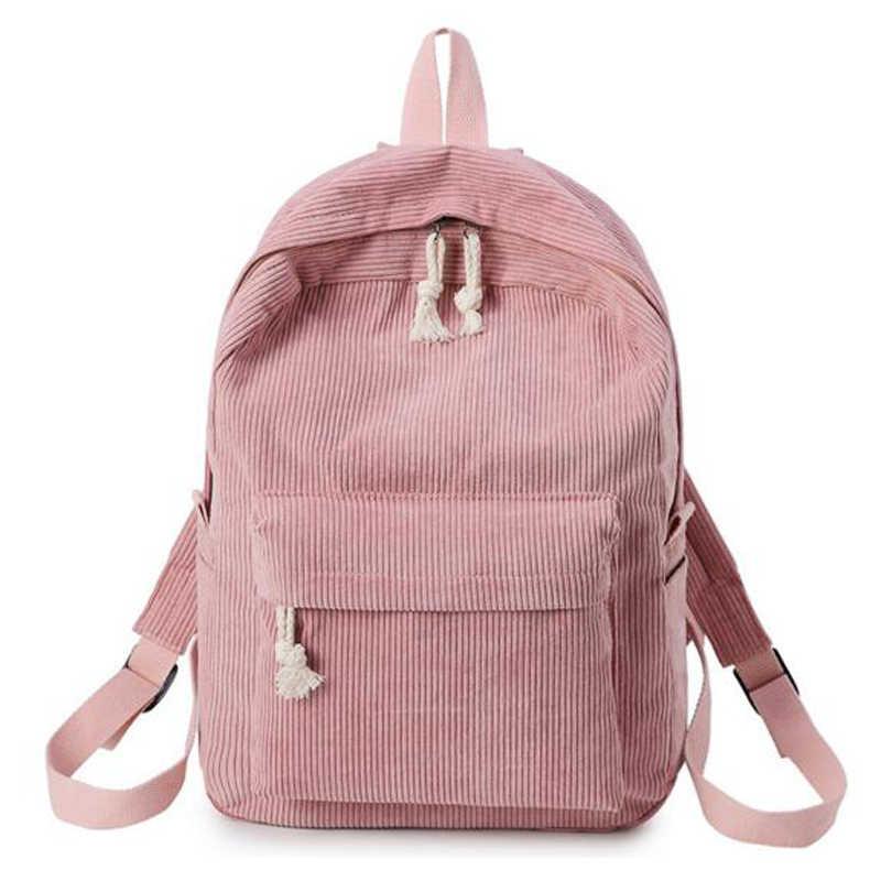 Вельвет Дизайн Для женщин девочек школьные рюкзаки для девочек-подростков школьная сумка через плечо в полоску рюкзак для деловых поездок мочил