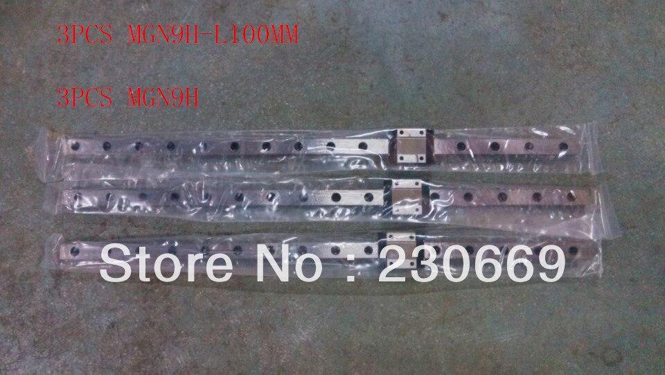 3pcs  mini Linear guide MR9 MGN9H-L100MM + 3pcs MGN9H miniature carriages for 3d printer3pcs  mini Linear guide MR9 MGN9H-L100MM + 3pcs MGN9H miniature carriages for 3d printer