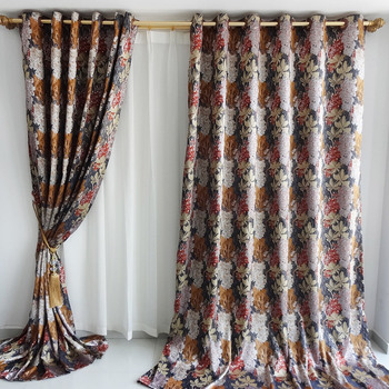 New arrival 2017 White gorgeous village countryside European style curtain finished products embroidery Lace big flowers curtain