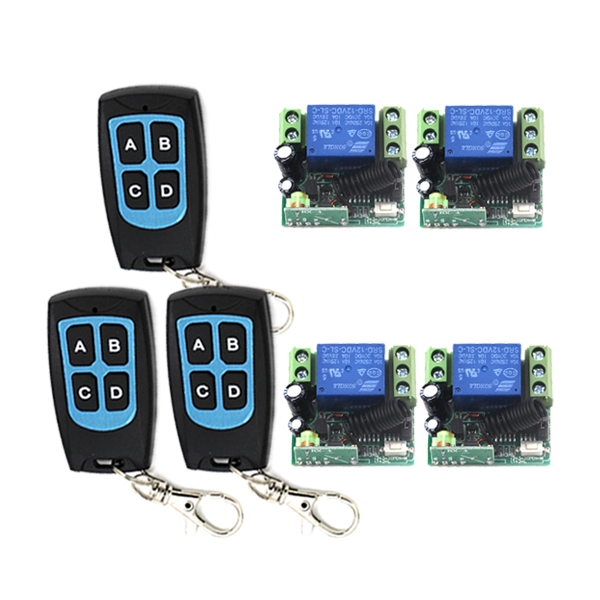 Hot sale 12V 10A 1 Channel relay remote control switch system 4 Receiver & 3 Transmitter model SKU: 5412 цена