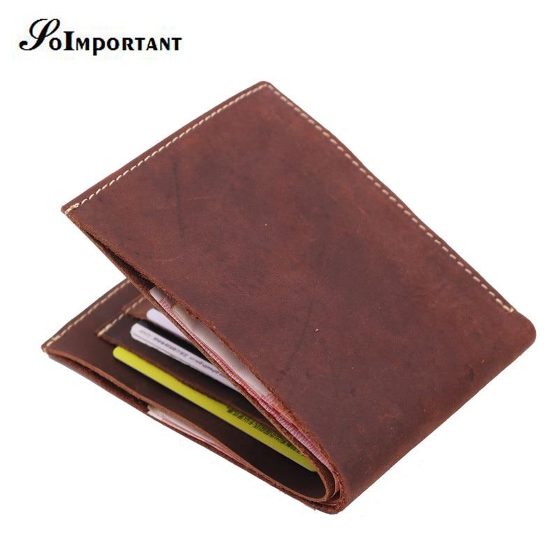 Vintage Wallet Genuine Crazy Horse Leather Men Wallets Short Small Wallet Portomonee Luxury Brand Mens Wallets Card Holder Walet