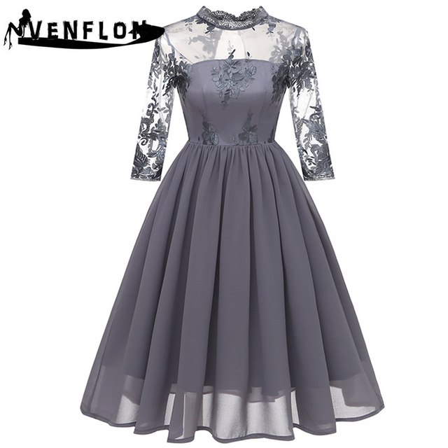 2e2e478d1d68f US $27.22 49% OFF|VENFLON Spring Summer Dress Women 2019 Elegant Embroidery  Floral Hollow Out Lace Dresses Female Sexy Chiffon Long Party Dress-in ...