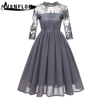 VENFLON Spring Summer Dress Women 2019 Elegant Embroidery Floral Hollow Out Lace Dresses Female Sexy Chiffon Long Party Dress