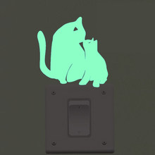 Luminous Switch Sticker DIY Cats Mother Son Glowing in Dark Stickers Green Fluorescent Wall Sticker for Kids Room Decor Gift(China)