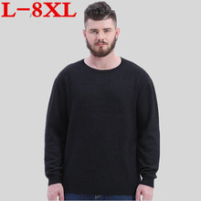 plus size 8XL 7XL 6XL Winter Men Jumper 100% Pure Cashmere Knitted Sweater V-neck Long Sleeve Warm Pullovers Male New Sweaters