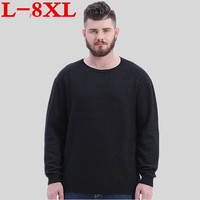 plus size 8XL 7XL 6XL Winter Men Jumper 100% Pure Cashmere Knitted Sweater V neck Long Sleeve Warm Pullovers Male New Sweaters