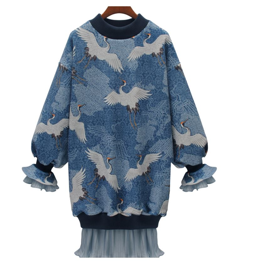 78d69ada99036 US $24.12 10% OFF|TREND Setter 2019 Spring Fashion Blue Crane Pattern Dress  Splice Mesh Women Loose Casual Pullovers Long Sleeve-in Dresses from ...
