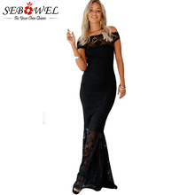 SEBOWEL 2017 Hollow Out Sexy Lace Elegant Long Party Dress Off The Shoulder Bodycon Women Floor Length Summer Maxi