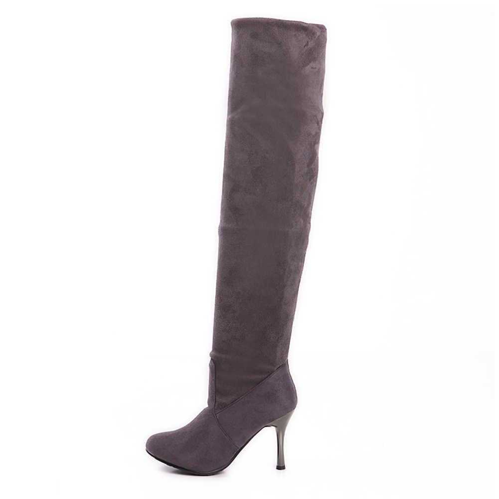 Karinluna 2018 Büyük Boy 34-43 ayakkabı Kadın Çizmeler Diz üzerinde Yüksek Çizmeler Seksi ince yüksek topuklu Moda parti bayan kadın Ayakkabı