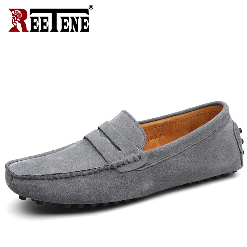 REETENE Fashion Summer Soft Moccasins Men Loafers Men Casual   Suede     Leather   Loafers Slip On Gommino Driving Shoes Flats 38-49