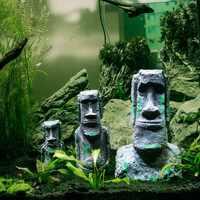 Alte Ostern Insel Stein Kopf Aquarium Ornament, Aquarium Dekoration Zubehör Geeignet für salz wasser und frische wasser