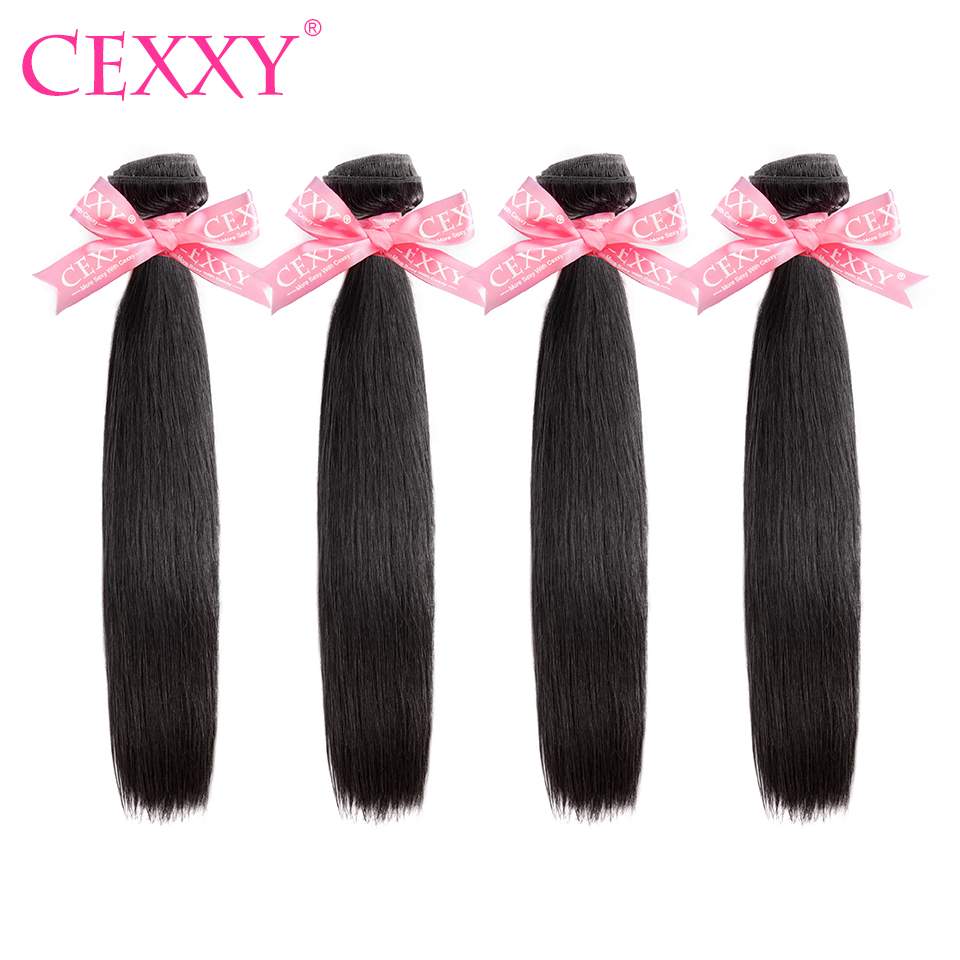 CEXXY 4 Bundles lot Human Hair Bundles Brazilian Hair Weave Bundles Straight Virgin Hair Natural Color