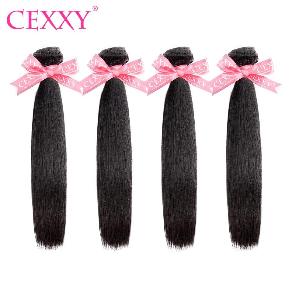 CEXXY 4 mechones extensiones de cabello humano mechones extensiones de pelo ondulado brasileño mechones pelo liso virgen Color Natural pelo largo envío gratis